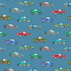 Extra Little Toy Cars in Watercolor on Blue