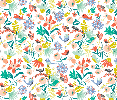 Gracie's Garden - Bird Floral fabric by heatherdutton on Spoonflower - custom fabric