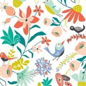 Gracie's Garden - Bird Floral