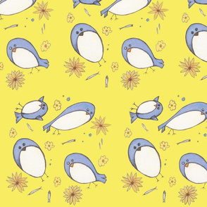 Bluebirds & Brown Eyed Susans in Lemon