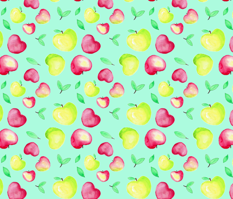 Green and red apples fabric by kslittleworld on Spoonflower - custom fabric