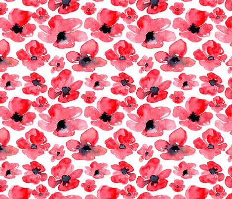 Red watercolor poppies fabric by graphicsdish on Spoonflower - custom fabric