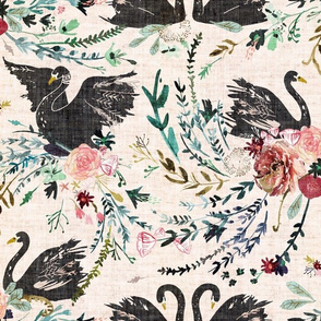 Fable Swan Damask (blush + black) (REGULAR)