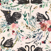 Fable Swan Damask (blush + black)