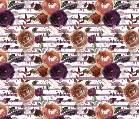 Boho Plum and Butterum Florals on Soft Purple Stripes fabric by hipkiddesigns on Spoonflower - custom fabric