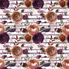 Boho Plum and Butterum Florals on Soft Purple Stripes