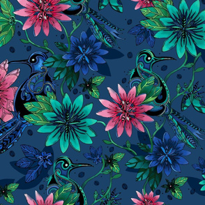 Birds and Blooms - Tropical Floral
