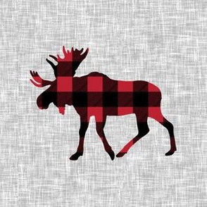 "6"" quilt block - Moose - buffalo plaid"