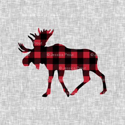 "9"" quilt block - Moose - buffalo plaid"