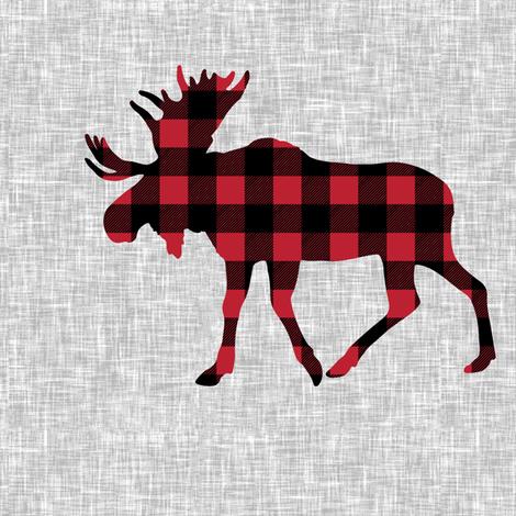 "9"" quilt block - Moose - buffalo plaid  fabric by littlearrowdesign on Spoonflower - custom fabric"