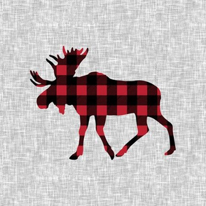 "9"" quilt block - Moose - buffalo plaid"