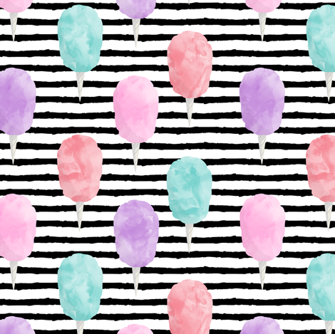 cotton candy on stripes - carnival food fabric by littlearrowdesign on Spoonflower - custom fabric
