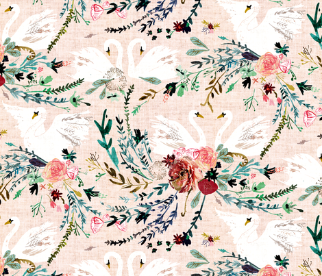 Fable Swan Damask (MED) (blush/white) fabric by nouveau_bohemian on Spoonflower - custom fabric