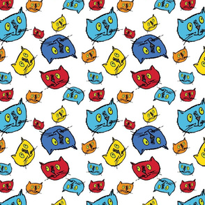 Goofy  cats in bright colors!