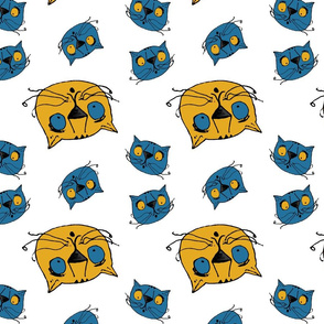 Spaced-out cats in blue and gold.