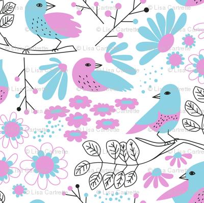 Pink & Blue: Birds & Blossoms