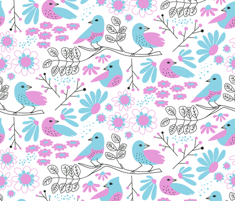 Pink & Blue: Birds & Blossoms fabric by bashfulbirdie on Spoonflower - custom fabric