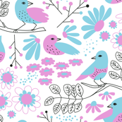 Pink & Blue: Birds & Blossoms