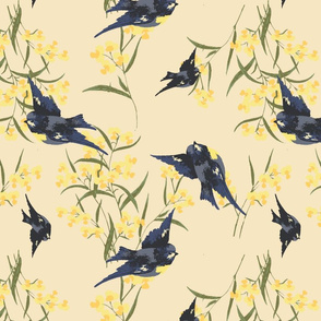 Yellow Flowers and Bluebirds