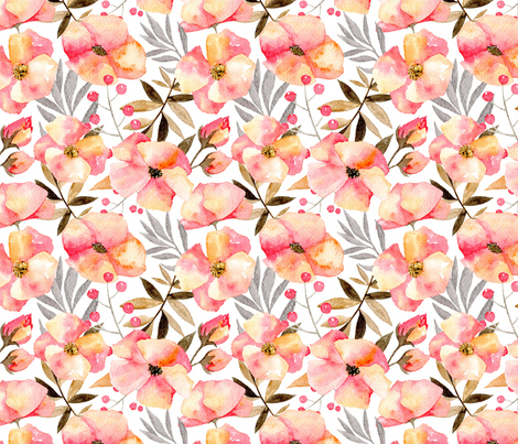 Pink watercolor flowers & branches fabric by graphicsdish on Spoonflower - custom fabric