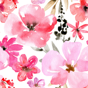 Red and pink watercolor flowers