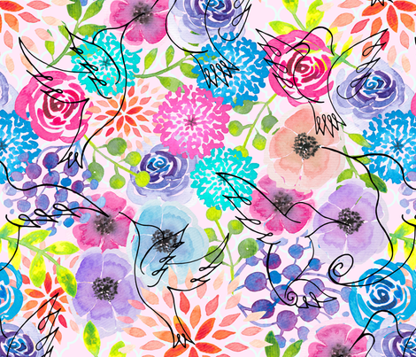 Flight and Florals fabric by gingerlique on Spoonflower - custom fabric