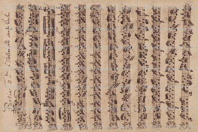 Bach's handwritten sheet music - Preludio - BWV1006 (sideways)