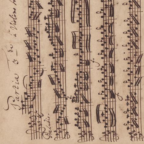 Bach's handwritten sheet music - Preludio - BWV1006 (sideways) fabric by weavingmajor on Spoonflower - custom fabric
