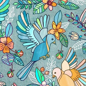 Whimsical Summer Flight in Teal and Grey