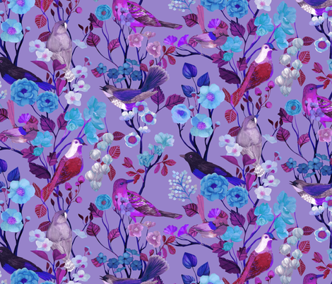 Birds and Blooms Chinoiserie {Mad Violet} fabric by ceciliamok on Spoonflower - custom fabric