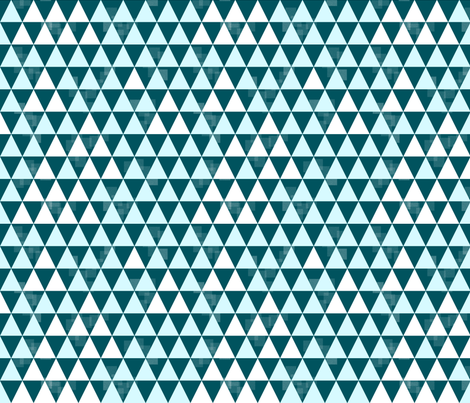 Triangle Trees (Teal-Light Blue-White) fabric by boissindesign on Spoonflower - custom fabric