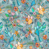 Whimsical Summer Flight in Teal and Grey small version