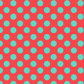 Orange and Aqua Polka Dot