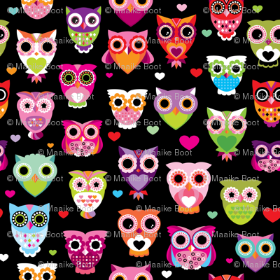 Retro colorful owls best selling owl print in colorful summer colors SMALL