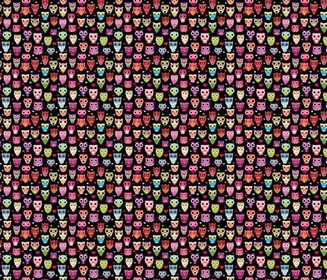 Retro colorful owls best selling owl print in colorful summer colors SMALL fabric by littlesmilemakers on Spoonflower - custom fabric