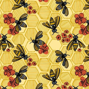 Honey Bee Hexagon Small Light Yellow