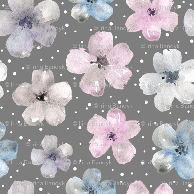 Watercolor flowers on grey background