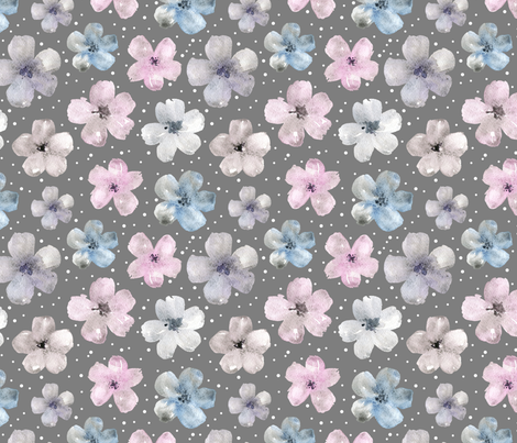 Watercolor flowers on grey background fabric by graphicsdish on Spoonflower - custom fabric