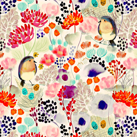 Nesting in Blooms fabric by susan_polston on Spoonflower - custom fabric