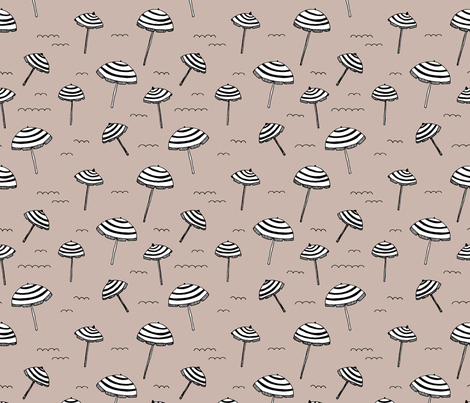 Day at the beach sun screen tropical parasol umbrella beige fabric by littlesmilemakers on Spoonflower - custom fabric