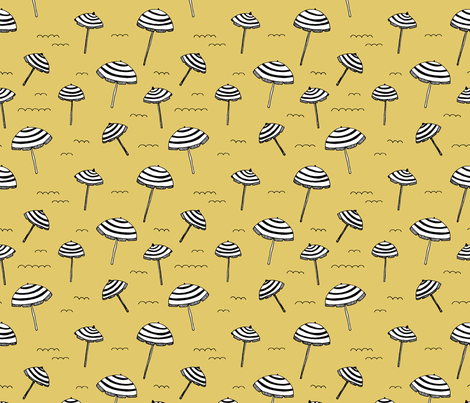 Day at the beach sun screen tropical parasol umbrella sun yellow fabric by littlesmilemakers on Spoonflower - custom fabric