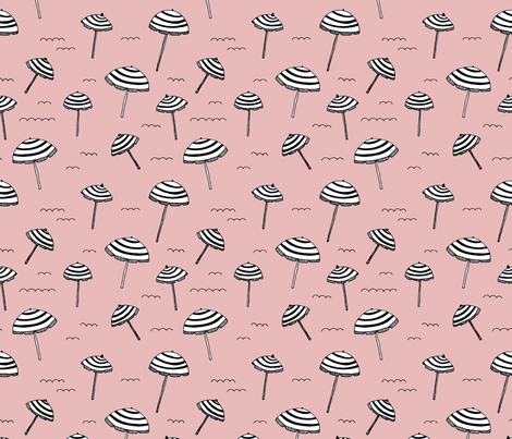 Day at the beach sun screen tropical parasol umbrella pastel pink fabric by littlesmilemakers on Spoonflower - custom fabric