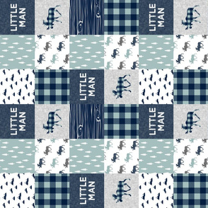 "3"" small scale - Little Man Patchwork (navy and dusty blue) (90) - navy"