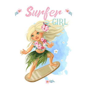 """Surfer Girl 16""""x16"""" Square in 18""""x18"""" / Pillow"""