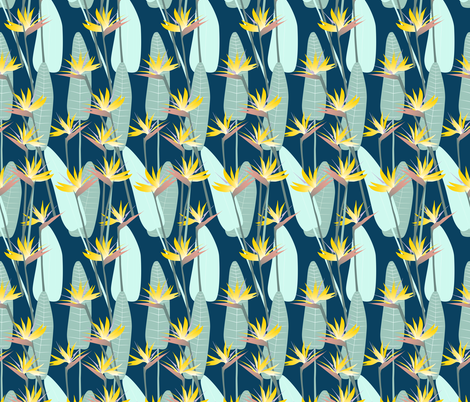 bird_of_paradise-gold_on_blue fabric by youdesignme on Spoonflower - custom fabric