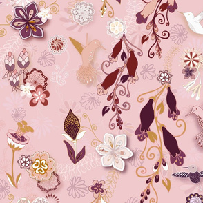 Birds and Blooms Seamless Repeating Pattern on Pink