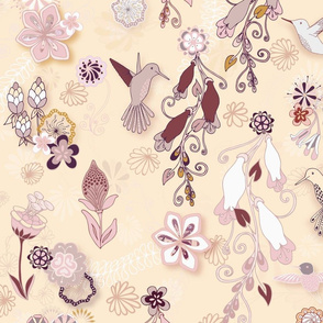 Birds and Blooms Seamless Repeating Pattern on Beige