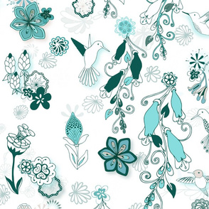 Birds and Blooms Seamless Repeating Pattern on White