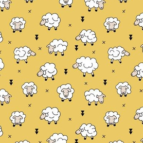 Wool and sleep adorable baby sheep sweet dreams yellow ochre