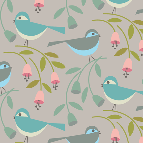 birds_and_blooms_in summer fabric by studiojenny on Spoonflower - custom fabric